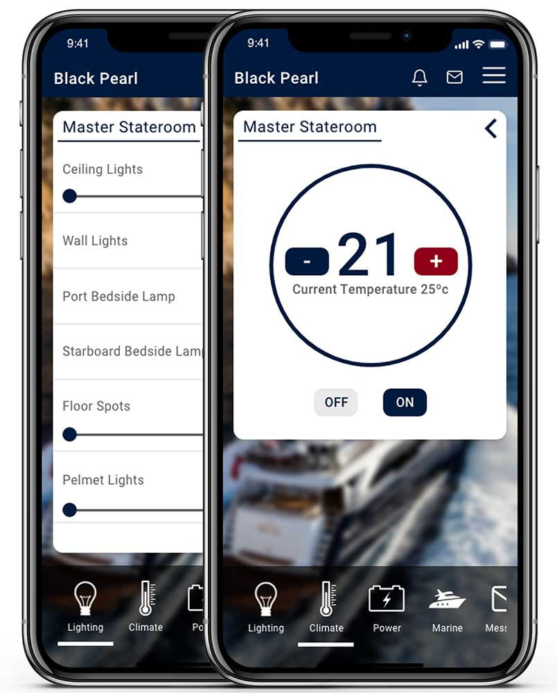 Two smartphones showing the LINK control interface for lighting and heating