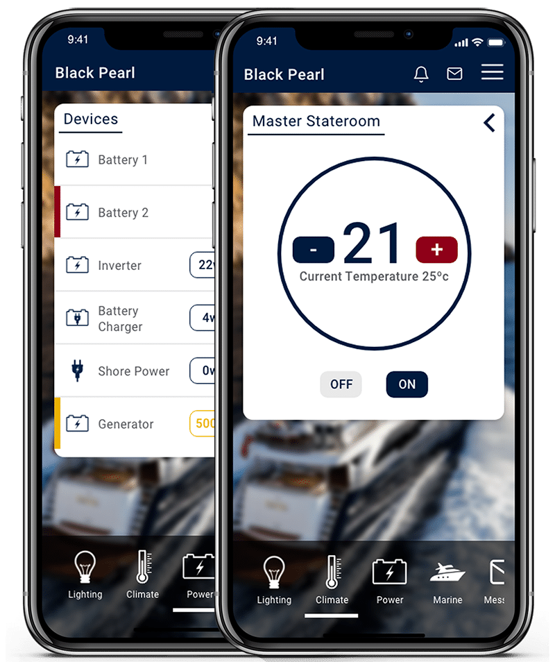 LINK smartphone control interface for power and climate